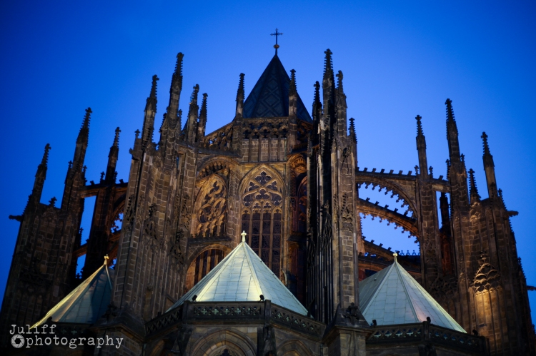 Prague Castle From Behiind Night