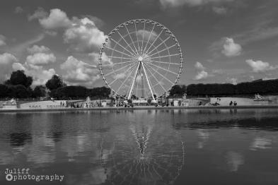 Ferris Wheel (Paris Reflection) B&W