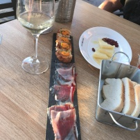 Ham, cheese, and wine in Seville