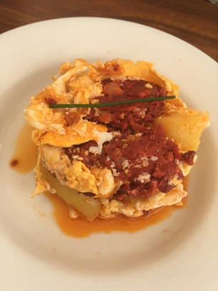Scrambled egg and chorizo tapa in Seville